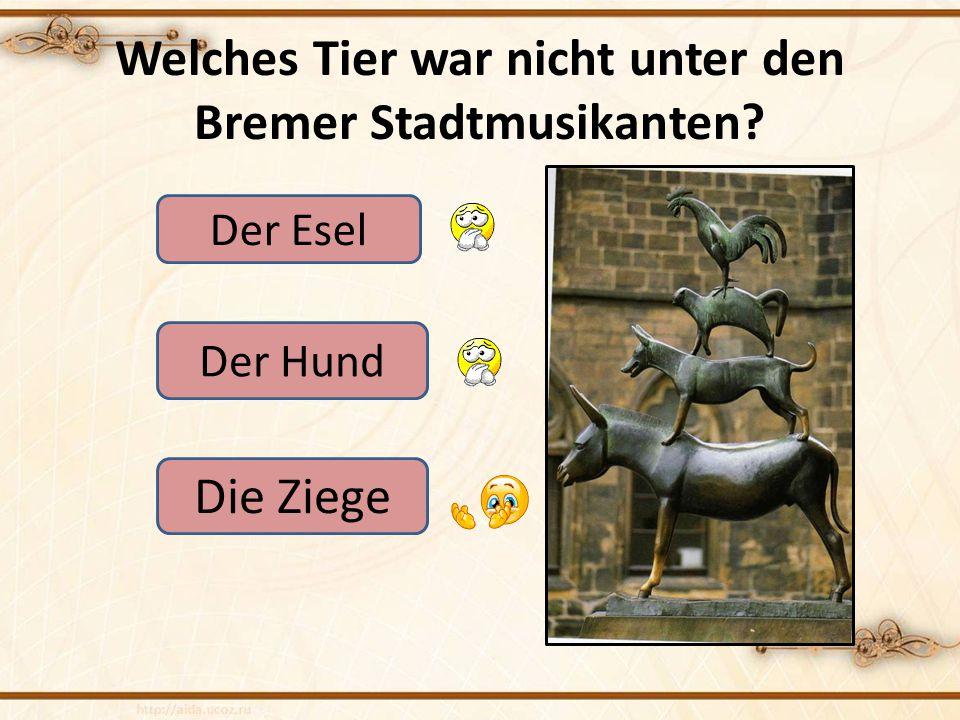 Welches Tier war nicht unter den Bremer Stadtmusikanten? Der Esel Der Hund Die Ziege