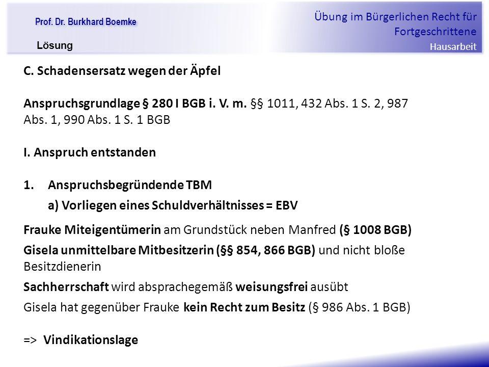 """Prof. Dr. Burkhard Boemke Übung im Bürgerlichen Recht für Fortgeschrittene Hausarbeit """"Verfall einer Familie"""" C. Schadensersatz wegen der Äpfel Anspru"""