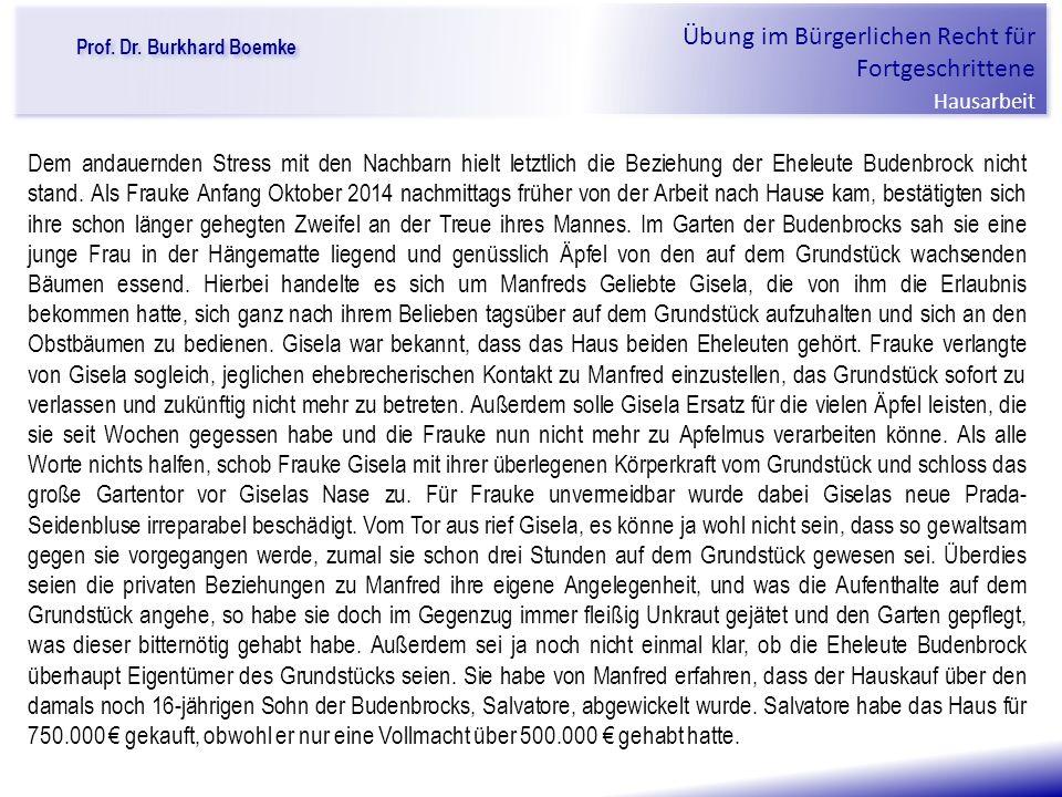 """Prof. Dr. Burkhard Boemke Übung im Bürgerlichen Recht für Fortgeschrittene Hausarbeit """"Verfall einer Familie"""" Dem andauernden Stress mit den Nachbarn"""