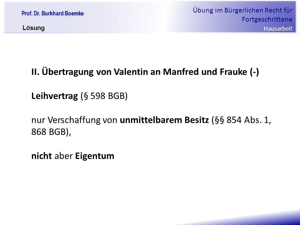 """Prof. Dr. Burkhard Boemke Übung im Bürgerlichen Recht für Fortgeschrittene Hausarbeit """"Verfall einer Familie"""" II. Übertragung von Valentin an Manfred"""