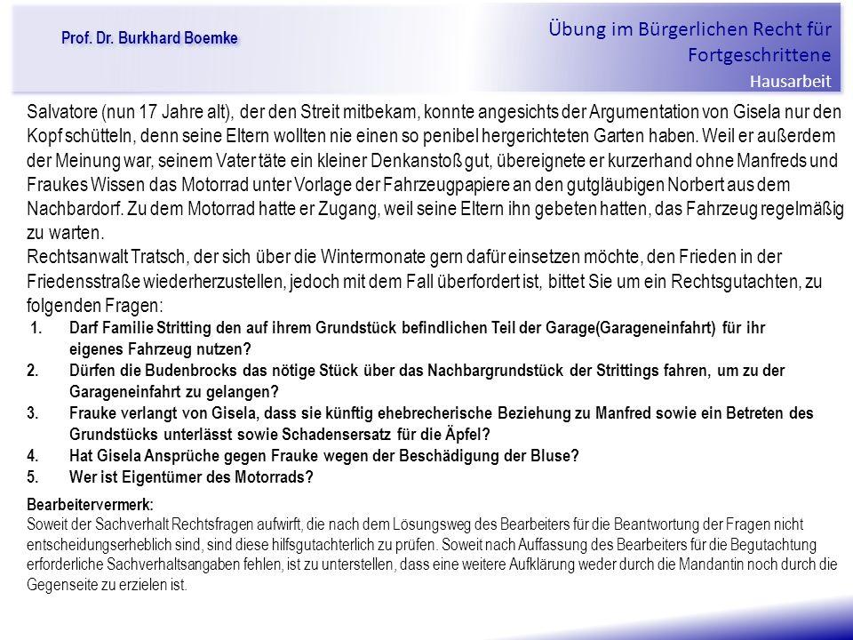 """Prof. Dr. Burkhard Boemke Übung im Bürgerlichen Recht für Fortgeschrittene Hausarbeit """"Verfall einer Familie"""" Salvatore (nun 17 Jahre alt), der den St"""