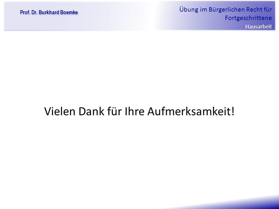 """Prof. Dr. Burkhard Boemke Übung im Bürgerlichen Recht für Fortgeschrittene Hausarbeit """"Verfall einer Familie"""" Vielen Dank für Ihre Aufmerksamkeit!"""