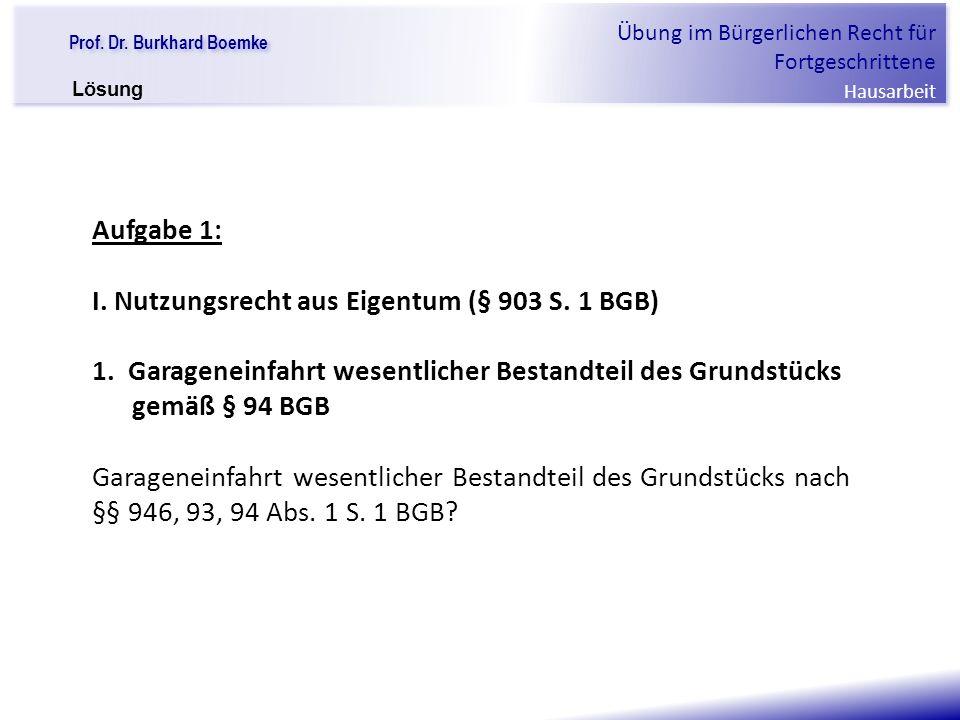 """Prof. Dr. Burkhard Boemke Übung im Bürgerlichen Recht für Fortgeschrittene Hausarbeit """"Verfall einer Familie"""" Aufgabe 1: I. Nutzungsrecht aus Eigentum"""