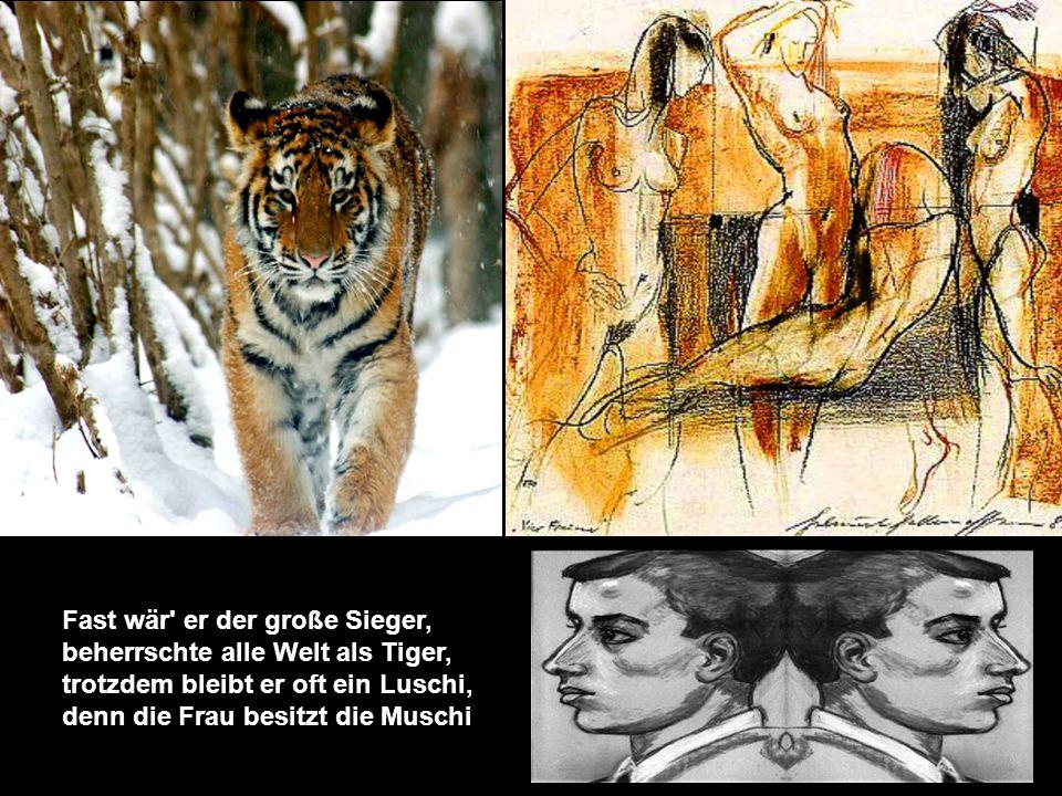 Fast wär er der große Sieger, beherrschte alle Welt als Tiger, trotzdem bleibt er oft ein Luschi, denn die Frau besitzt die Muschi.