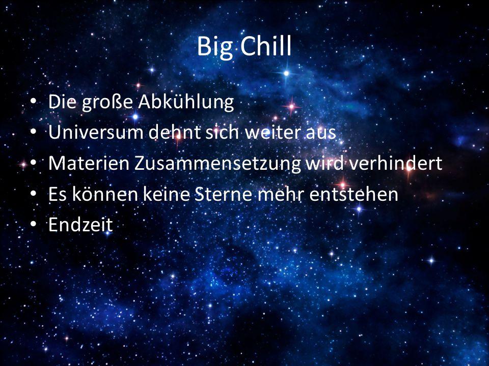 Big Chill Die große Abkühlung Universum dehnt sich weiter aus Materien Zusammensetzung wird verhindert Es können keine Sterne mehr entstehen Endzeit