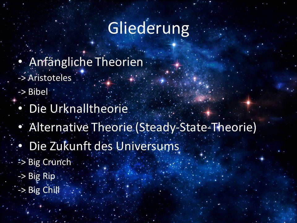 Gliederung Anfängliche Theorien -> Aristoteles -> Bibel Die Urknalltheorie Alternative Theorie (Steady-State-Theorie) Die Zukunft des Universums -> Bi