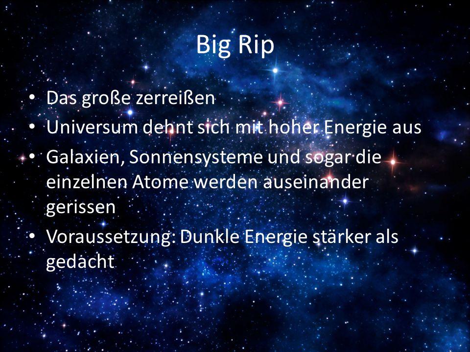 Big Rip Das große zerreißen Universum dehnt sich mit hoher Energie aus Galaxien, Sonnensysteme und sogar die einzelnen Atome werden auseinander geriss