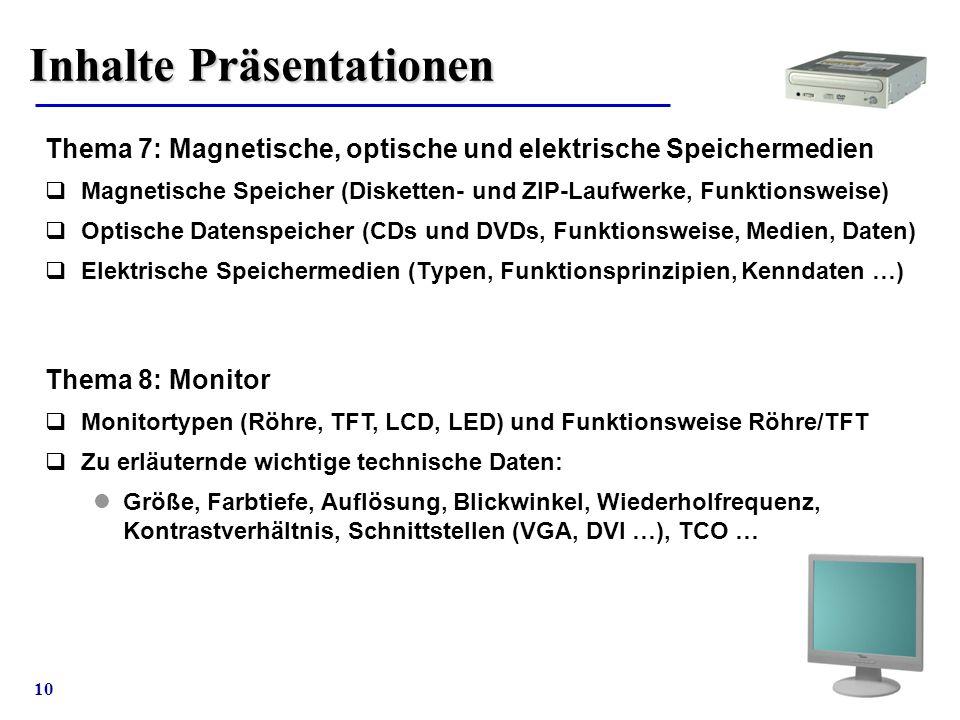 10 Inhalte Präsentationen Thema 7: Magnetische, optische und elektrische Speichermedien  Magnetische Speicher (Disketten- und ZIP-Laufwerke, Funktion