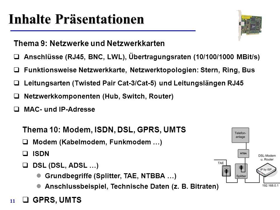 11 Inhalte Präsentationen Thema 9: Netzwerke und Netzwerkkarten  Anschlüsse (RJ45, BNC, LWL), Übertragungsraten (10/100/1000 MBit/s)  Funktionsweise