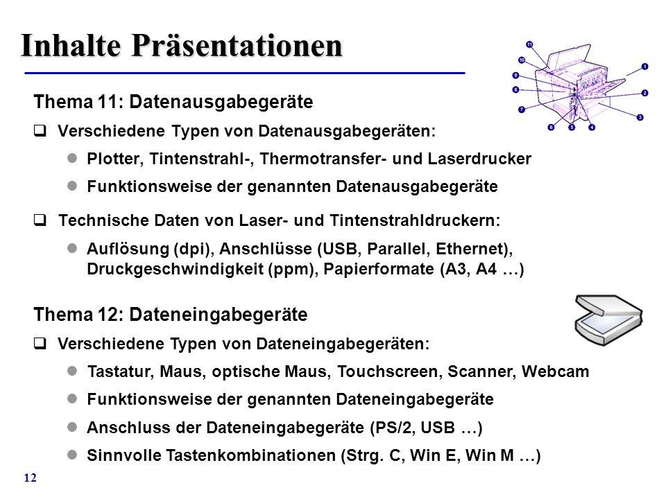 12 Inhalte Präsentationen Thema 11: Datenausgabegeräte  Verschiedene Typen von Datenausgabegeräten: Plotter, Tintenstrahl-, Thermotransfer- und Laser