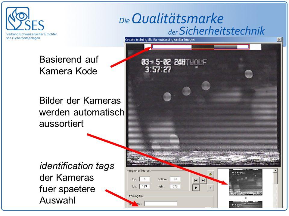 Basierend auf Kamera Kode identification tags der Kameras fuer spaetere Auswahl Bilder der Kameras werden automatisch aussortiert