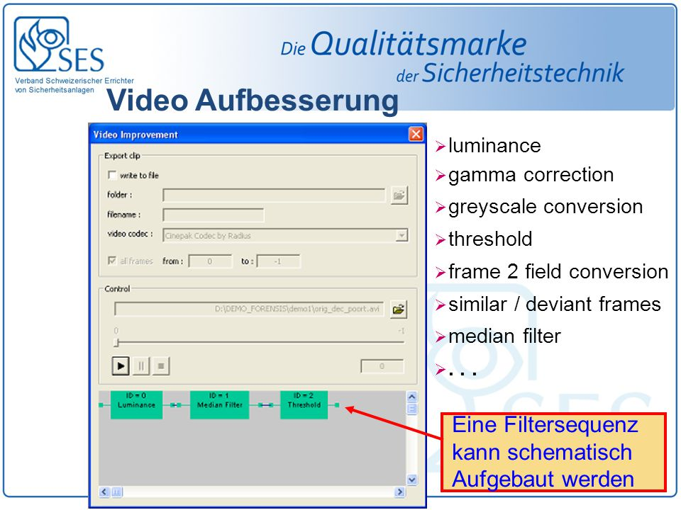Video Aufbesserung  luminance  gamma correction  greyscale conversion  threshold  frame 2 field conversion  similar / deviant frames  median filter ...
