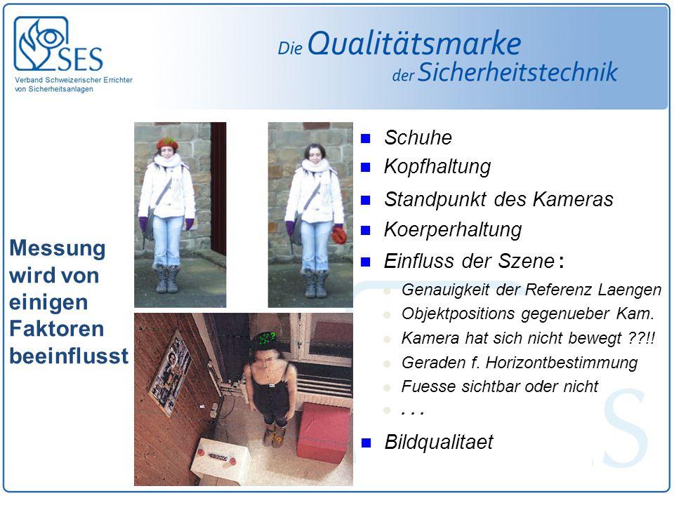 Messung wird von einigen Faktoren beeinflusst Schuhe Kopfhaltung Einfluss der Szene : Genauigkeit der Referenz Laengen Objektpositions gegenueber Kam.