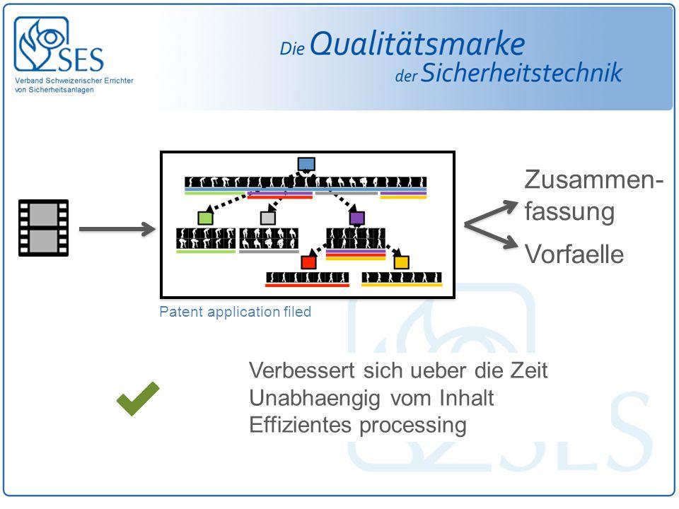 Verbessert sich ueber die Zeit Unabhaengig vom Inhalt Effizientes processing Patent application filed Zusammen- fassung Vorfaelle