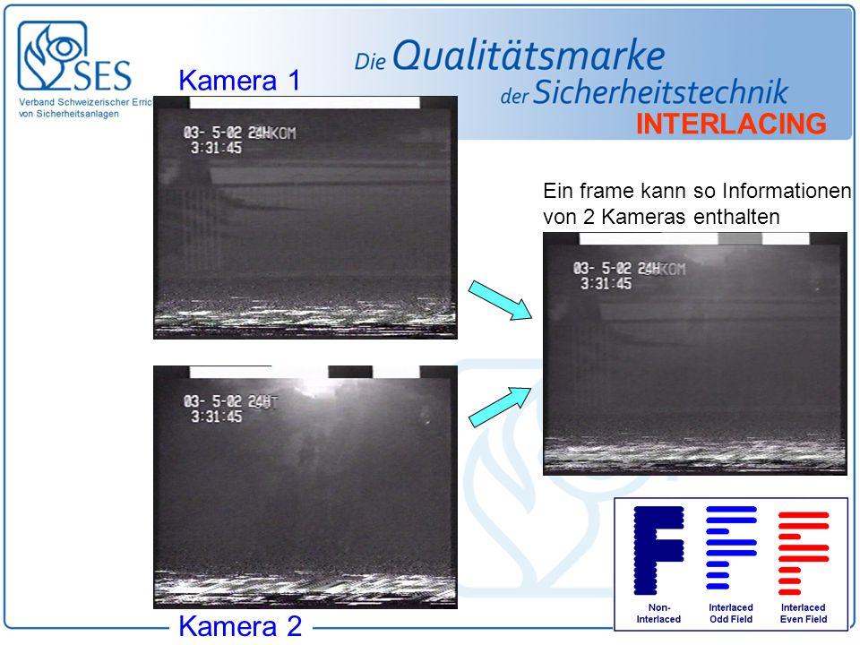 Kamera 1 Kamera 2 Ein frame kann so Informationen von 2 Kameras enthalten INTERLACING