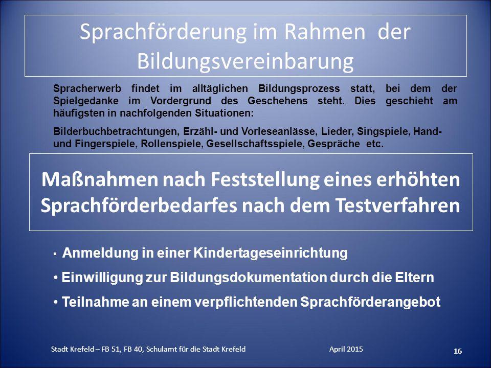 Sprachförderung im Rahmen der Bildungsvereinbarung 16 Anmeldung in einer Kindertageseinrichtung Einwilligung zur Bildungsdokumentation durch die Elter