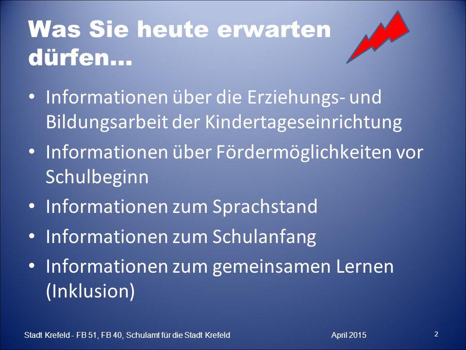 Was Sie heute erwarten dürfen… Informationen über die Erziehungs- und Bildungsarbeit der Kindertageseinrichtung Informationen über Fördermöglichkeiten