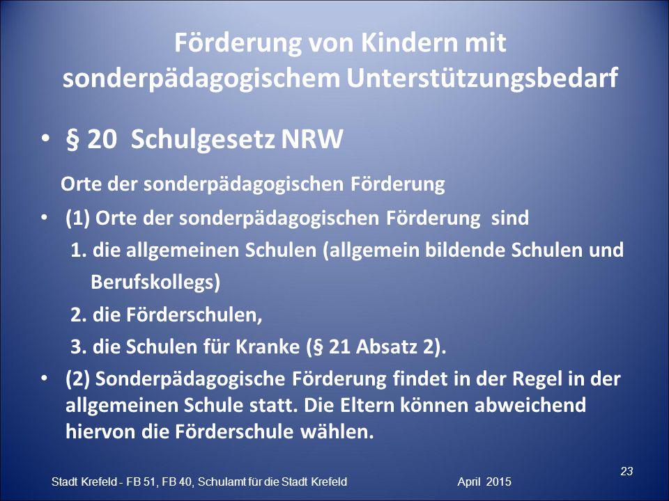 Förderung von Kindern mit sonderpädagogischem Unterstützungsbedarf § 20 Schulgesetz NRW Orte der sonderpädagogischen Förderung (1) Orte der sonderpäda
