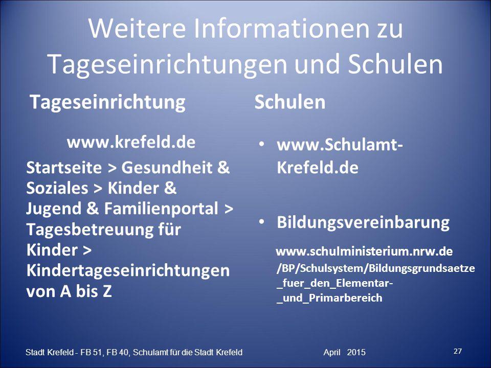 27 Stadt Krefeld - FB 51, FB 40, Schulamt für die Stadt Krefeld April 2015 Weitere Informationen zu Tageseinrichtungen und Schulen TageseinrichtungSch
