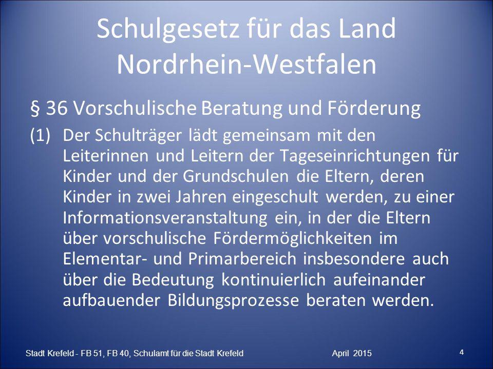 Schulgesetz für das Land Nordrhein-Westfalen § 36 Vorschulische Beratung und Förderung (1)Der Schulträger lädt gemeinsam mit den Leiterinnen und Leite