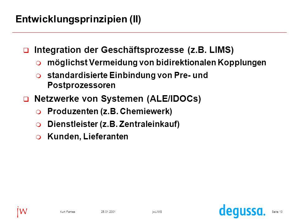 Seite 1325.01.2001Kurt FantesjwLIMS jw Entwicklungsprinzipien (II)  Integration der Geschäftsprozesse (z.B.