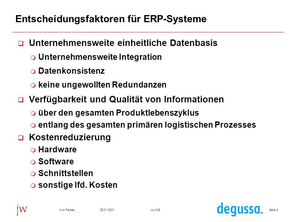 Seite 3525.01.2001Kurt FantesjwLIMS jw SAP R/3 QM Workshop der jw Consulting für den Degussa-Konzern Frankfurt 25.01.2001