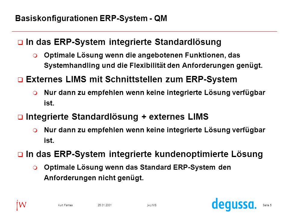 Seite 625.01.2001Kurt FantesjwLIMS jw Voraussetzungen für ein integriertes SAP R/3 LIMS  Unterstützung aller unternehmensweit anfallenden Anforderungen  kurzfristig verfügbar  zukunftssicheres Konzept  bezahlbar  bedienbar  erweiterbar