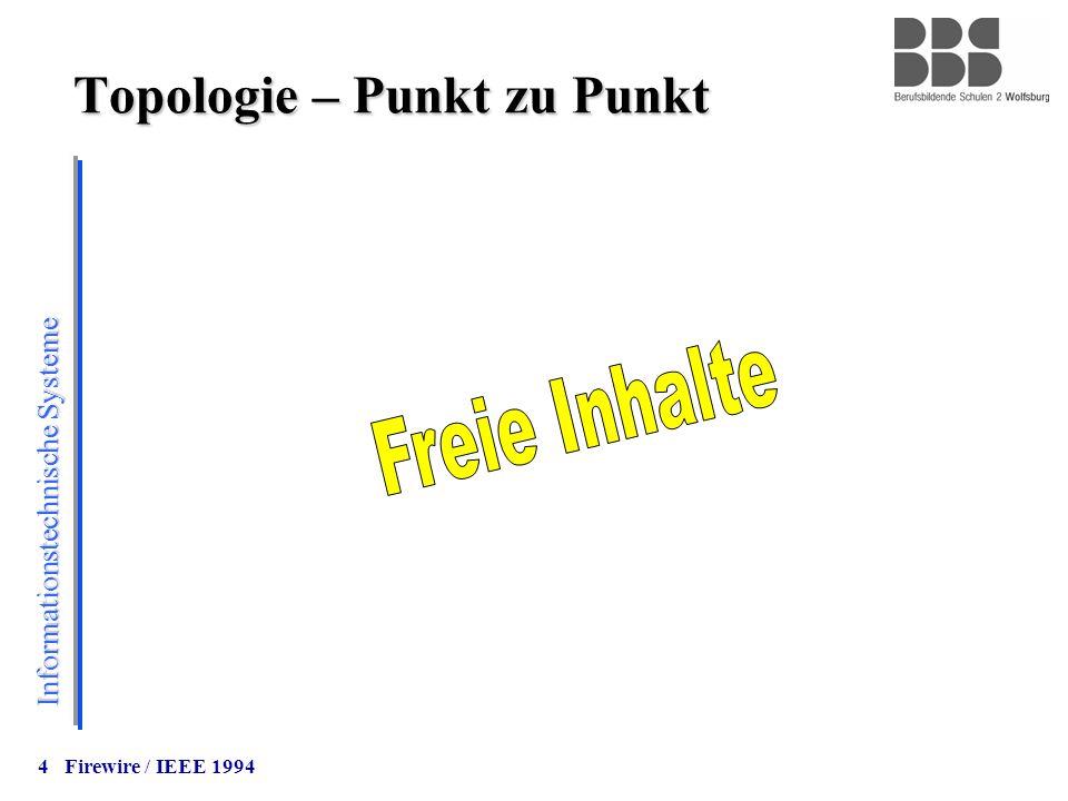 Informationstechnische Systeme 4 Topologie – Punkt zu Punkt Firewire / IEEE 1994