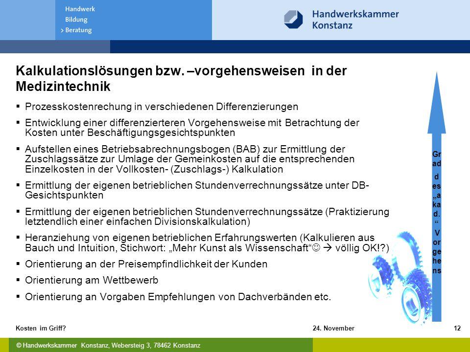 © Handwerkskammer Konstanz, Webersteig 3, 78462 Konstanz 24. November 2009Kosten im Griff?12 Kalkulationslösungen bzw. –vorgehensweisen in der Medizin