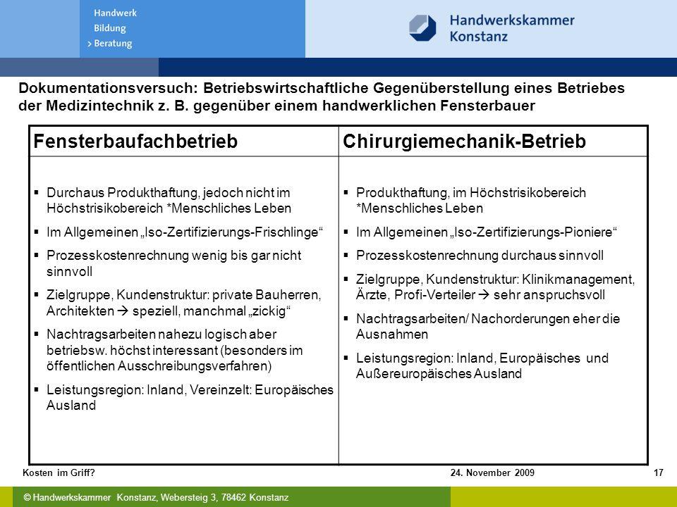 © Handwerkskammer Konstanz, Webersteig 3, 78462 Konstanz 24. November 2009Kosten im Griff?17 FensterbaufachbetriebChirurgiemechanik-Betrieb  Durchaus