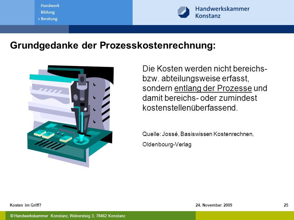 © Handwerkskammer Konstanz, Webersteig 3, 78462 Konstanz 24. November 2009Kosten im Griff?25 Grundgedanke der Prozesskostenrechnung: Die Kosten werden