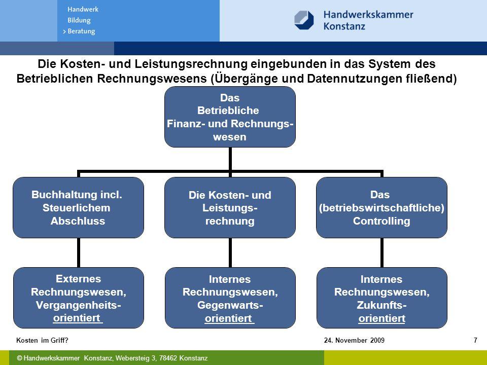 © Handwerkskammer Konstanz, Webersteig 3, 78462 Konstanz 24. November 2009Kosten im Griff?7 Die Kosten- und Leistungsrechnung eingebunden in das Syste