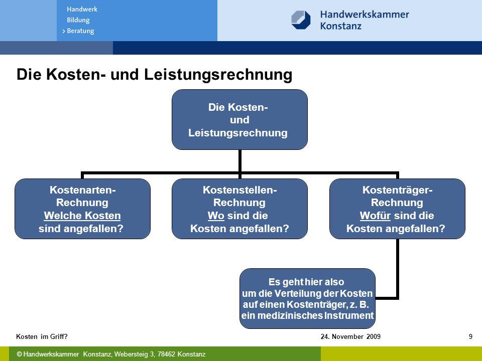 © Handwerkskammer Konstanz, Webersteig 3, 78462 Konstanz 24. November 2009Kosten im Griff?9 Die Kosten- und Leistungsrechnung Die Kosten- und Leistung