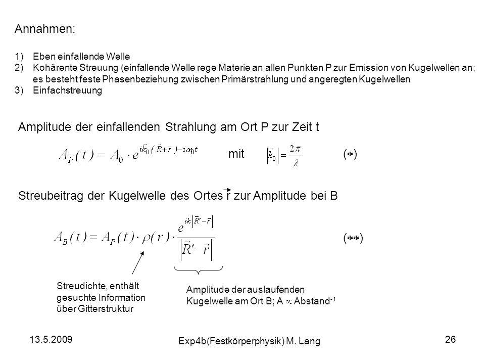 13.5.2009 Exp4b(Festkörperphysik) M. Lang 26 Annahmen: 1)Eben einfallende Welle 2)Kohärente Streuung (einfallende Welle rege Materie an allen Punkten