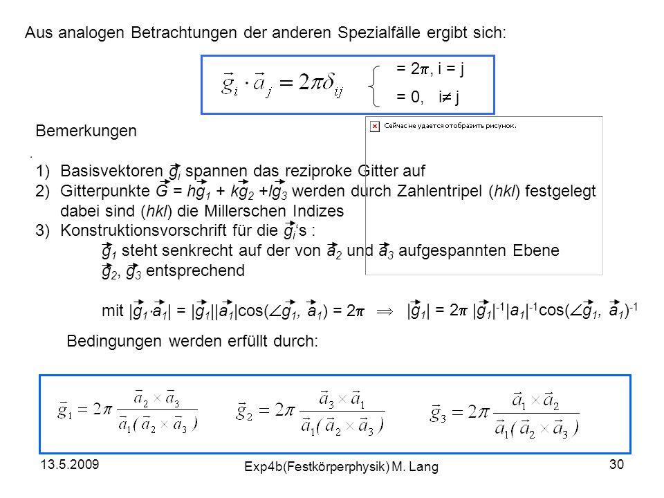 = 2 , i = j = 0, i  j Aus analogen Betrachtungen der anderen Spezialfälle ergibt sich: Bemerkungen 1)Basisvektoren g i spannen das reziproke Gitter
