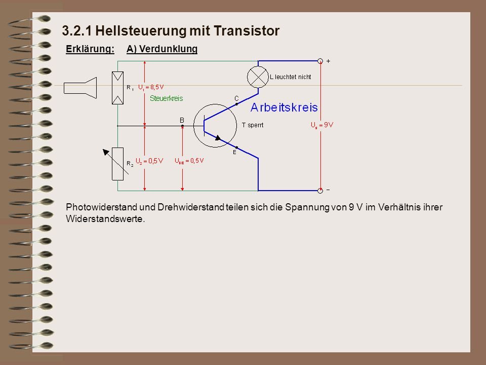 3.2.1 Hellsteuerung mit Transistor Erklärung:A) Verdunklung Photowiderstand und Drehwiderstand teilen sich die Spannung von 9 V im Verhältnis ihrer Wi