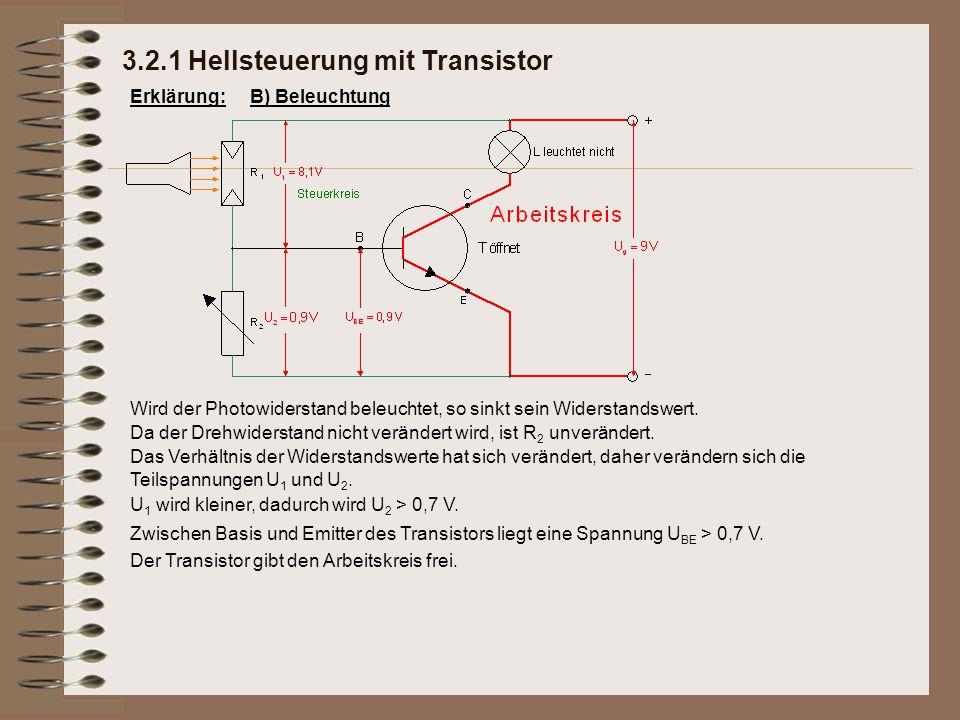 Zwischen Basis und Emitter des Transistors liegt eine Spannung U BE > 0,7 V. 3.2.1 Hellsteuerung mit Transistor Erklärung:B) Beleuchtung Wird der Phot