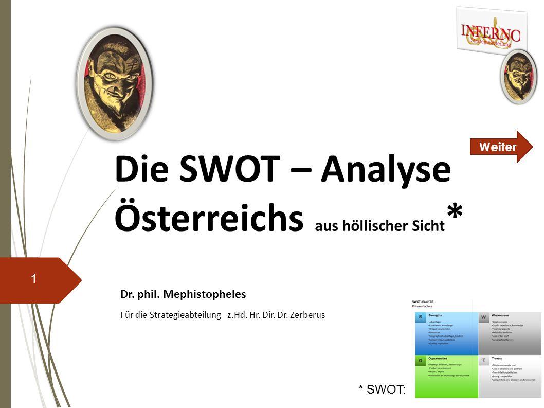Die SWOT – Analyse Österreichs aus höllischer Sicht * Dr.