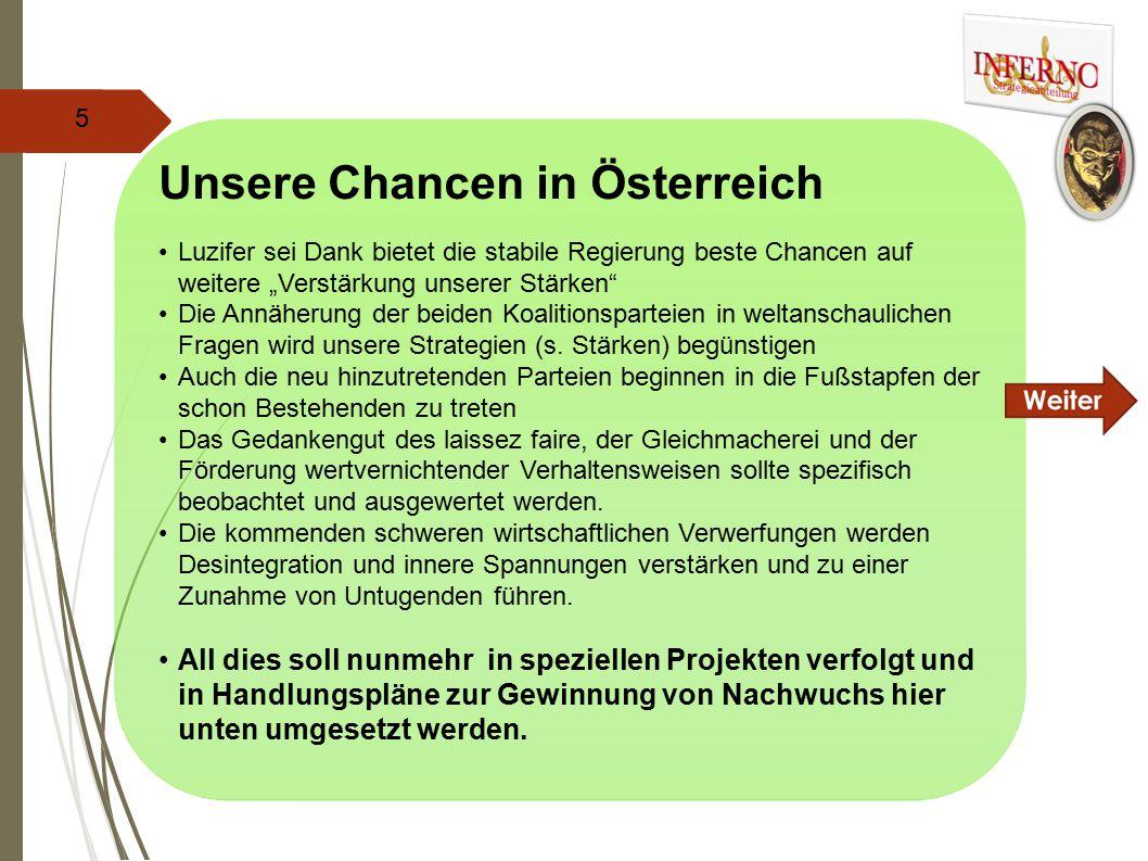 """Unsere Chancen in Österreich Luzifer sei Dank bietet die stabile Regierung beste Chancen auf weitere """"Verstärkung unserer Stärken Die Annäherung der beiden Koalitionsparteien in weltanschaulichen Fragen wird unsere Strategien (s."""