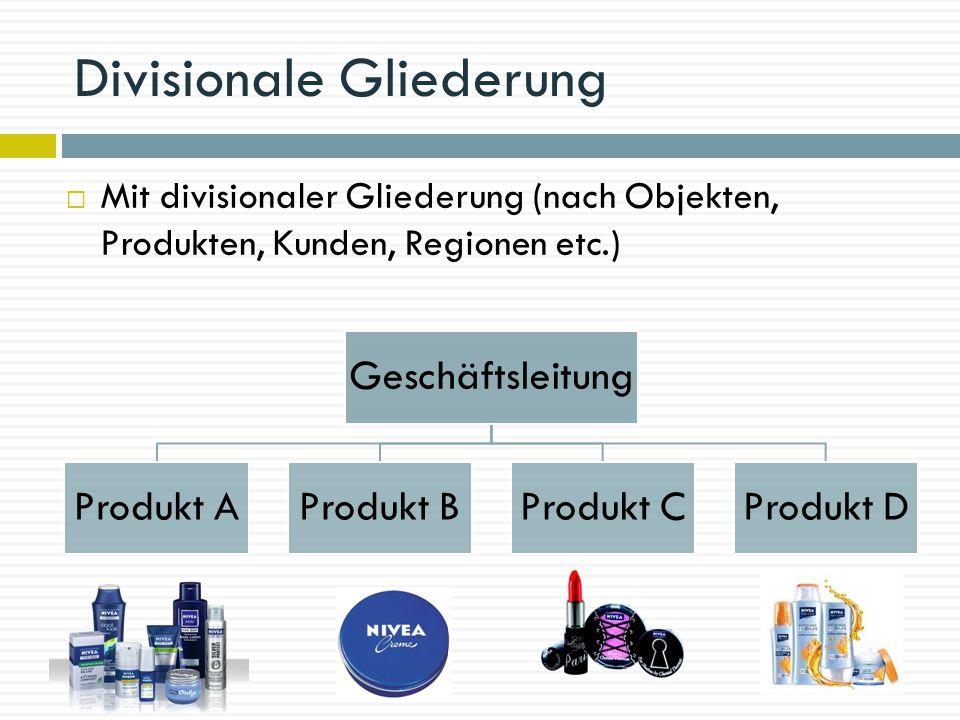 Divisionale Gliederung Geschäftsleitung Produkt AProdukt BProdukt CProdukt D  Mit divisionaler Gliederung (nach Objekten, Produkten, Kunden, Regionen etc.)