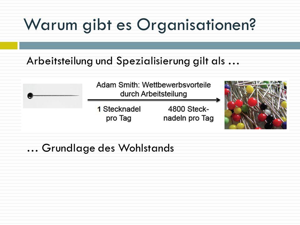 Warum gibt es Organisationen? Arbeitsteilung und Spezialisierung gilt als … … Grundlage des Wohlstands