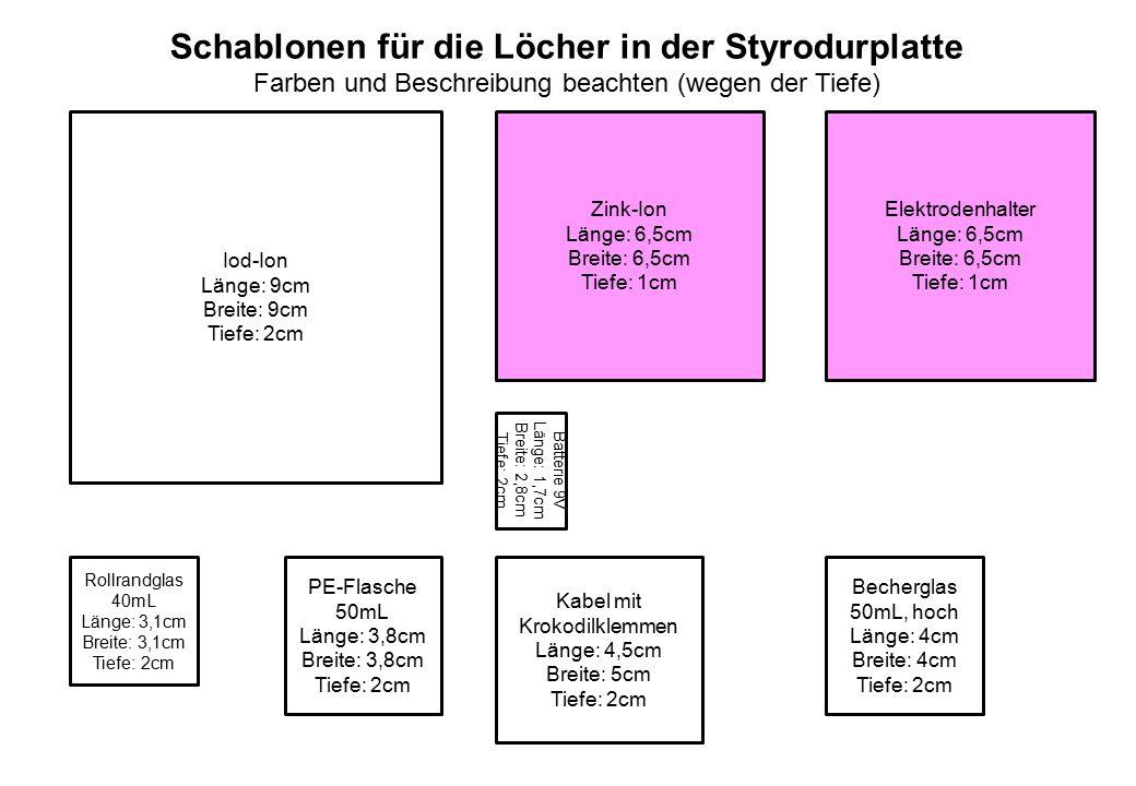 Iod-Ion Länge: 9cm Breite: 9cm Tiefe: 2cm Zink-Ion Länge: 6,5cm Breite: 6,5cm Tiefe: 1cm Elektrodenhalter Länge: 6,5cm Breite: 6,5cm Tiefe: 1cm Rollra