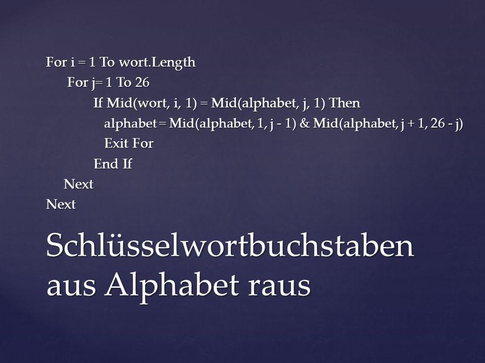 For i = 1 To wort.Length For j= 1 To 26 For j= 1 To 26 If Mid(wort, i, 1) = Mid(alphabet, j, 1) Then alphabet = Mid(alphabet, 1, j - 1) & Mid(alphabet, j + 1, 26 - j) alphabet = Mid(alphabet, 1, j - 1) & Mid(alphabet, j + 1, 26 - j) Exit For Exit For End If Next NextNext Schlüsselwortbuchstaben aus Alphabet raus