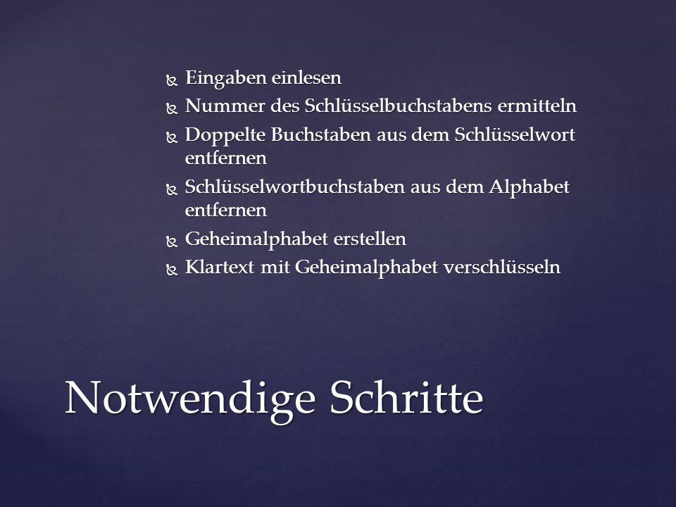Jedem Klartextbuchstaben … …über seine Nummer im Alphabet… …seinen Geheimbuchstaben zuordnen.