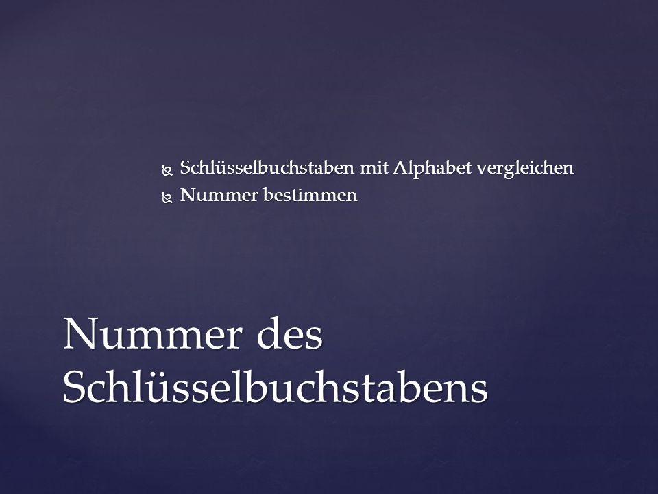 Schlüsselbuchstaben mit Alphabet vergleichen  Nummer bestimmen Nummer des Schlüsselbuchstabens