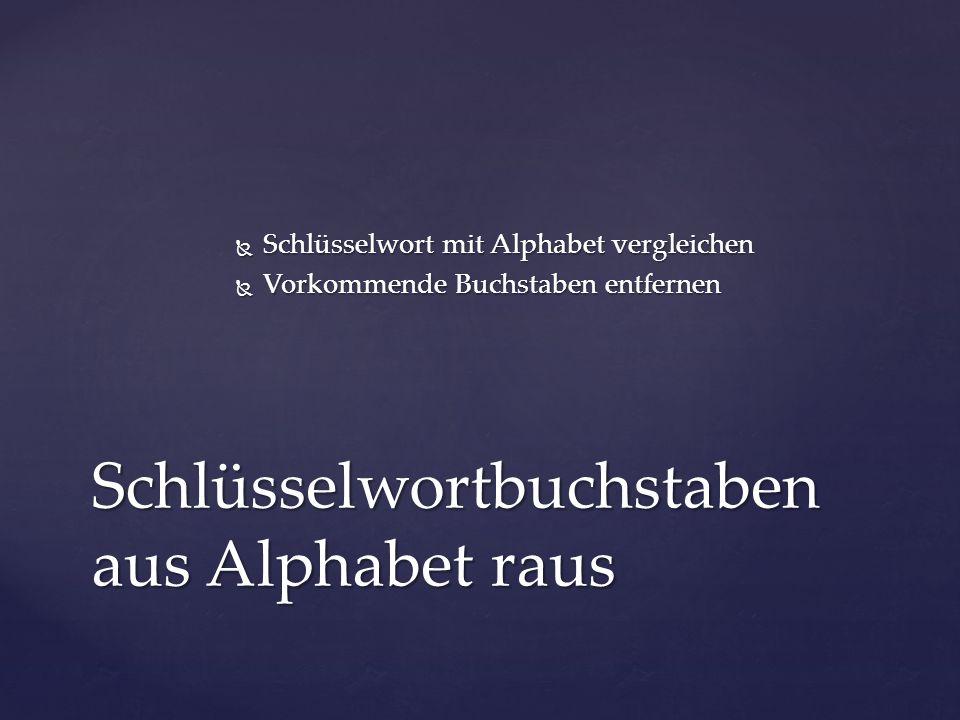  Schlüsselwort mit Alphabet vergleichen  Vorkommende Buchstaben entfernen Schlüsselwortbuchstaben aus Alphabet raus