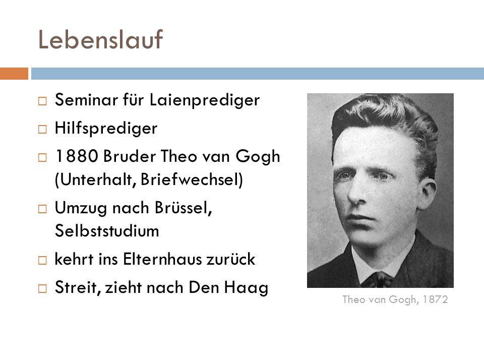 Lebenslauf  Seminar für Laienprediger  Hilfsprediger  1880 Bruder Theo van Gogh (Unterhalt, Briefwechsel)  Umzug nach Brüssel, Selbststudium  keh