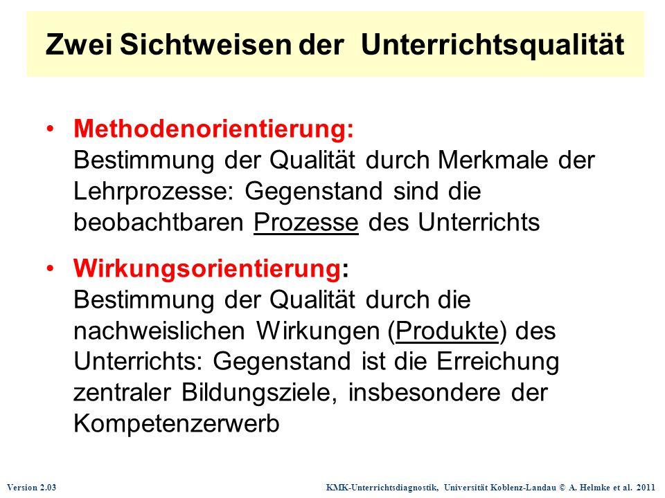 Version 2.03 KMK-Unterrichtsdiagnostik, Universität Koblenz-Landau © A. Helmke et al. 2011 Zwei Sichtweisen der Unterrichtsqualität Methodenorientieru