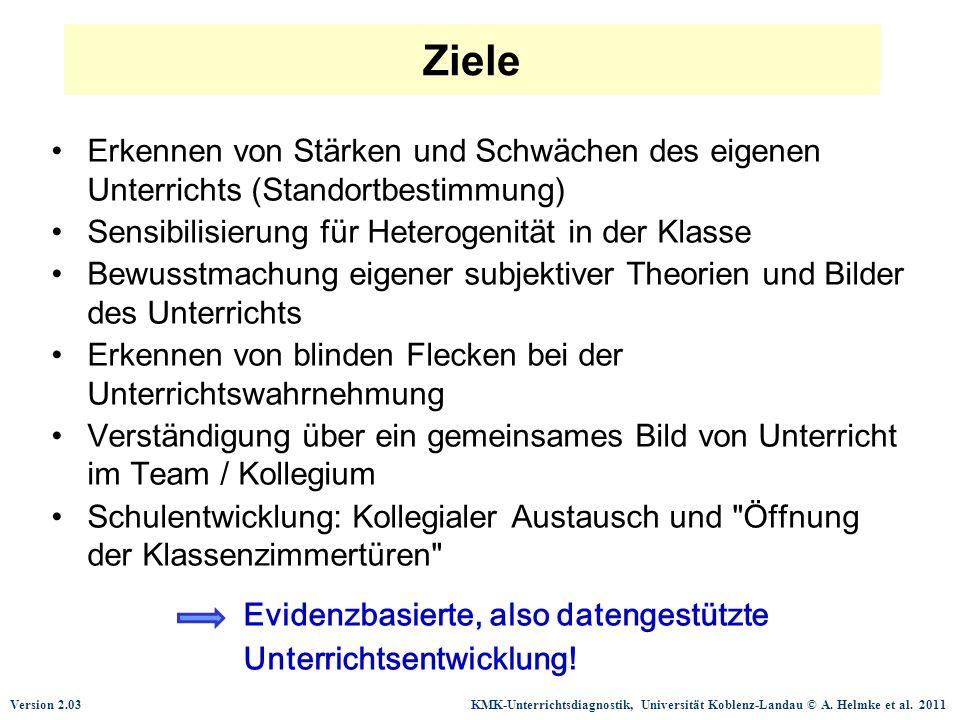 Version 2.03 KMK-Unterrichtsdiagnostik, Universität Koblenz-Landau © A. Helmke et al. 2011 Ziele Erkennen von Stärken und Schwächen des eigenen Unterr
