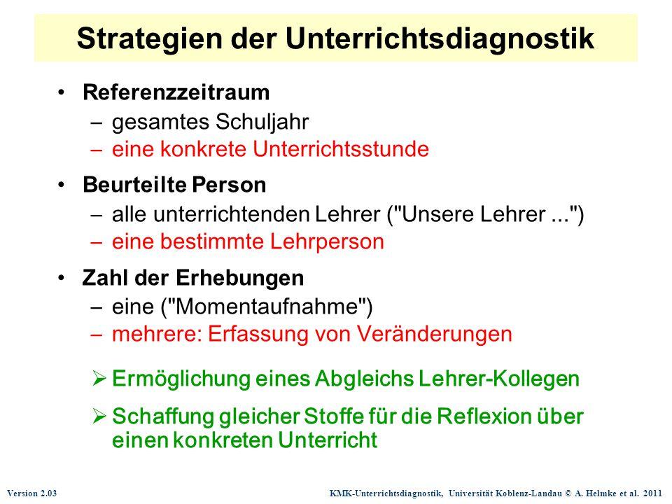 Version 2.03 KMK-Unterrichtsdiagnostik, Universität Koblenz-Landau © A. Helmke et al. 2011 Strategien der Unterrichtsdiagnostik Referenzzeitraum –gesa